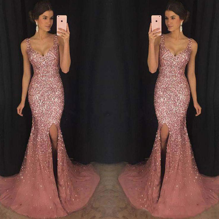 Dunhuang Hot Selling 2019 Europe And America New Style WOMEN'S Dress Deep V Camisole Sequin-Formal Dress Long Skirts
