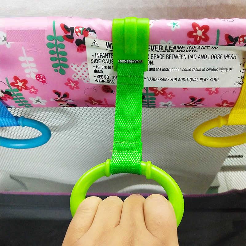 Baby Bett Platzsparende Tragbare Multi-farbe Haken Ziehen Ring Reise ungiftig Krippe Wake Up Stand Up faltbare Hause Anhänger Spielzeug