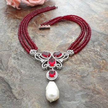 4 Strands Red Jade Necklace White Keshi Pearl CZ Pave Pendant