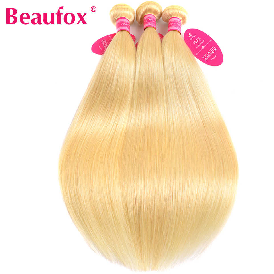 Beaufox 1/3/4 613 Blonde Hair Extensions Brazilian Hair Weave Straight Hair Bundles 100% Remy Human Hair 613 Bundles
