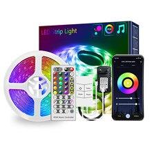 Luzes de tira led 5m 20m inteligente wifi app controle rgb cor em mudança sincronização música 5050 trabalhos flexíveis com alexa google assistente