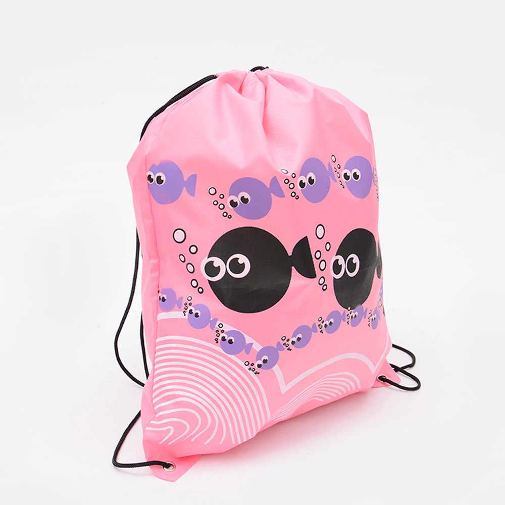À prova dwaterproof água beira-mar praia tote casual bolsa de ombro simples derivada natação bolsa dos desenhos animados impresso cordão correias pequenos sacos