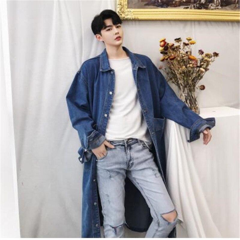 Men Long Casual Denim Trench Coat Streetwear Hip Hop Fashion Loose Cowboy Cardigan Jacket Male Jean Windbreaker Overcoat