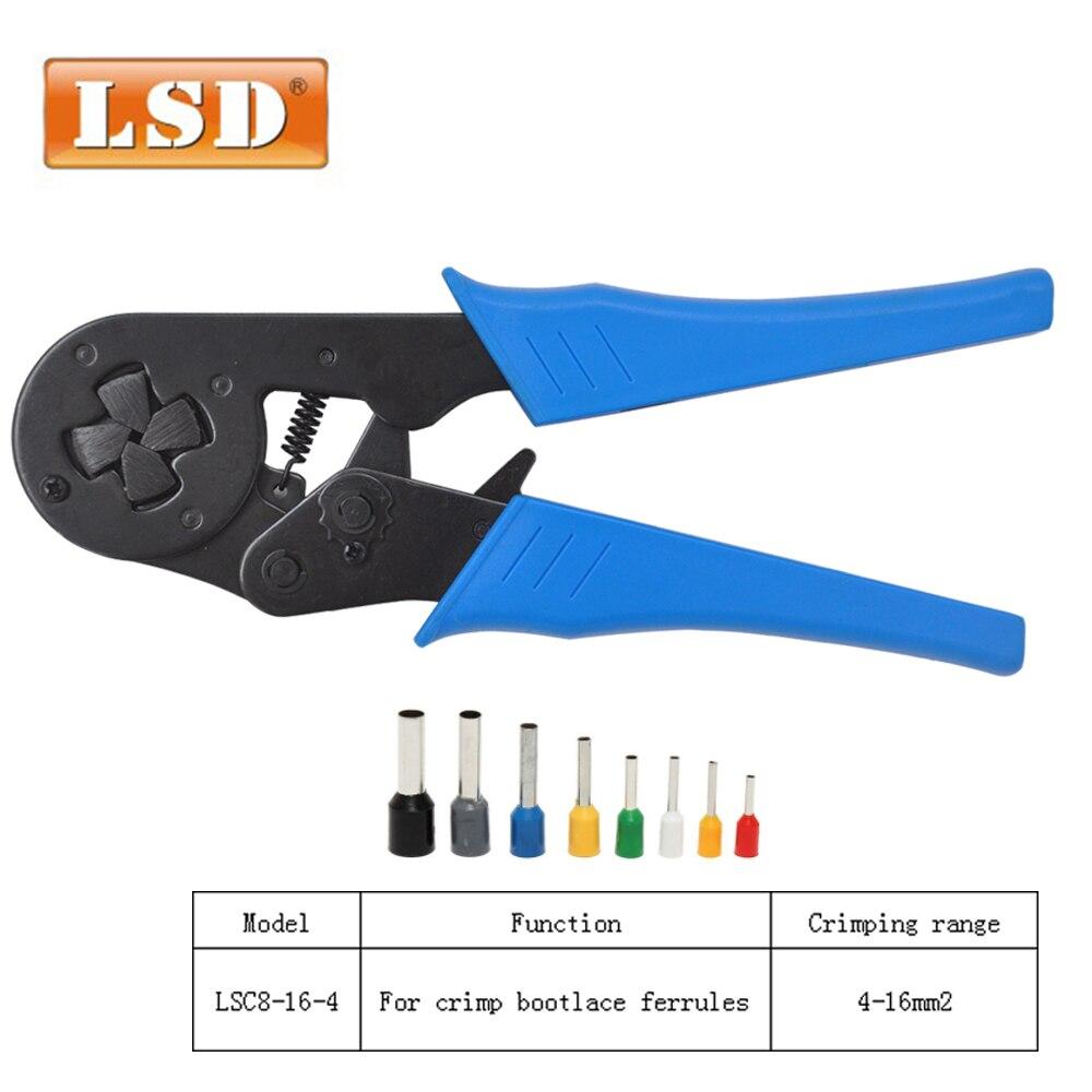 Pince de virole de fil 4-16mm2 outil de sertissage terminal type carré pince à sertir auto-ajustable 12-6AWG bootlace pince à sertir