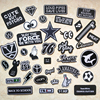 Faishon Patch Black and White Embroidery Patches for T-shirt Iron on Stripes Appliques Clothes Letters Stickers Clothing Badges
