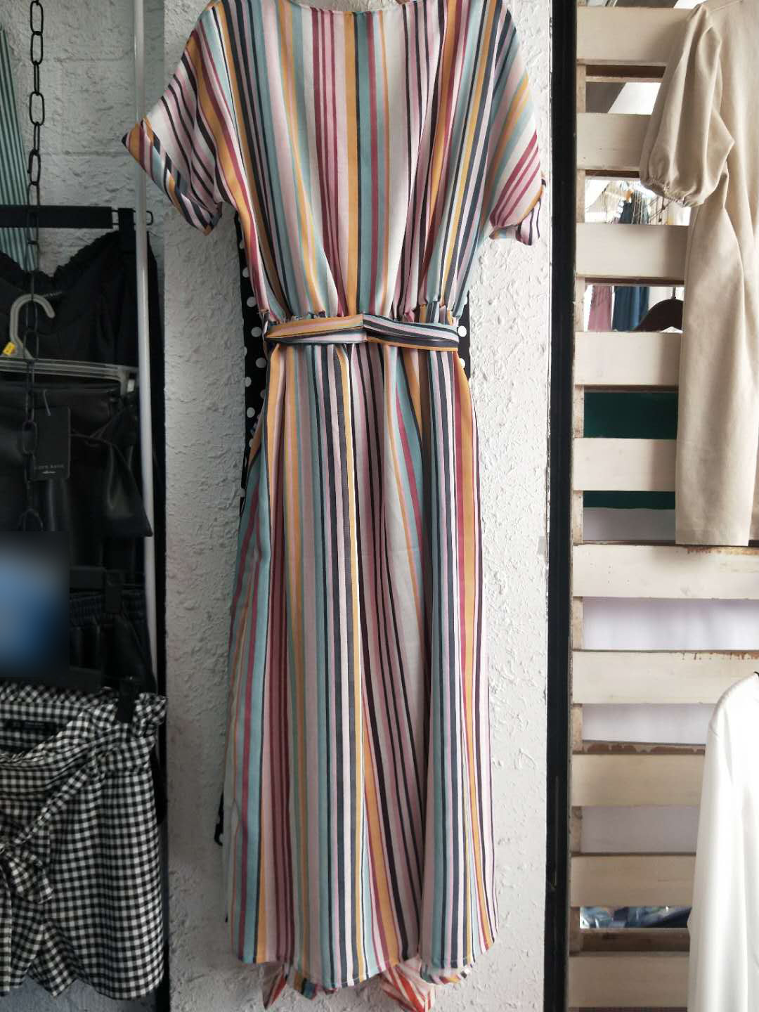 2018 Summer New Style WOMEN'S Dress Women's Stripes In The Long Version Of The Rainbow Dress 2751030 2751/030