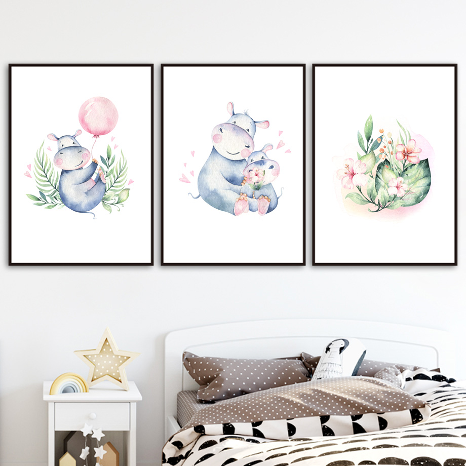 Hippo Balloon Flower Plant Nursery Wall Art Print Canvas Painting Nordic Canvas Posters And Prints Wall Pictures Baby Kids Room in Painting Calligraphy from Home Garden
