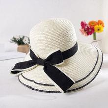 2019 Fashion summer straw hat women big wide brim beach sun foldable block UV protection panama bone feminino