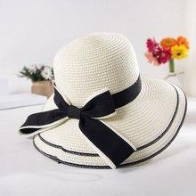 цена на MEITEWOFU Fashion summer straw hat women big wide brim panama beach hat sun hat foldable sun block UV protection Bowknot hat
