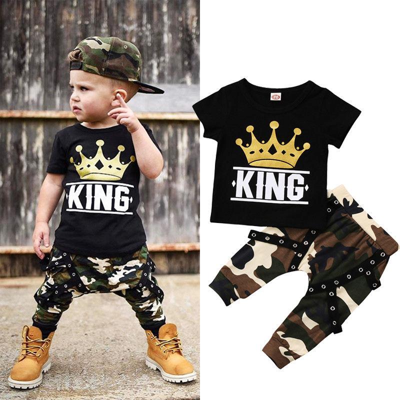 Комплект одежды из 2 предметов для маленьких мальчиков, топы с принтом, футболка + камуфляжные штаны, одежда для маленьких мальчиков 0-5 лет