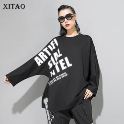 XITAO Drilling Ribbon Print T Shirt Women Clothes 2019 Fashion Pullover Tide Letter Irregular T Shirt Personality New WQR1661