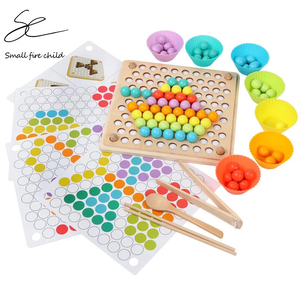 Kids Toys Montessori Wooden Toys Hands Brain Training Clip Beads Puzzle Board Math Game Baby Early Educational Toys for Children(China)