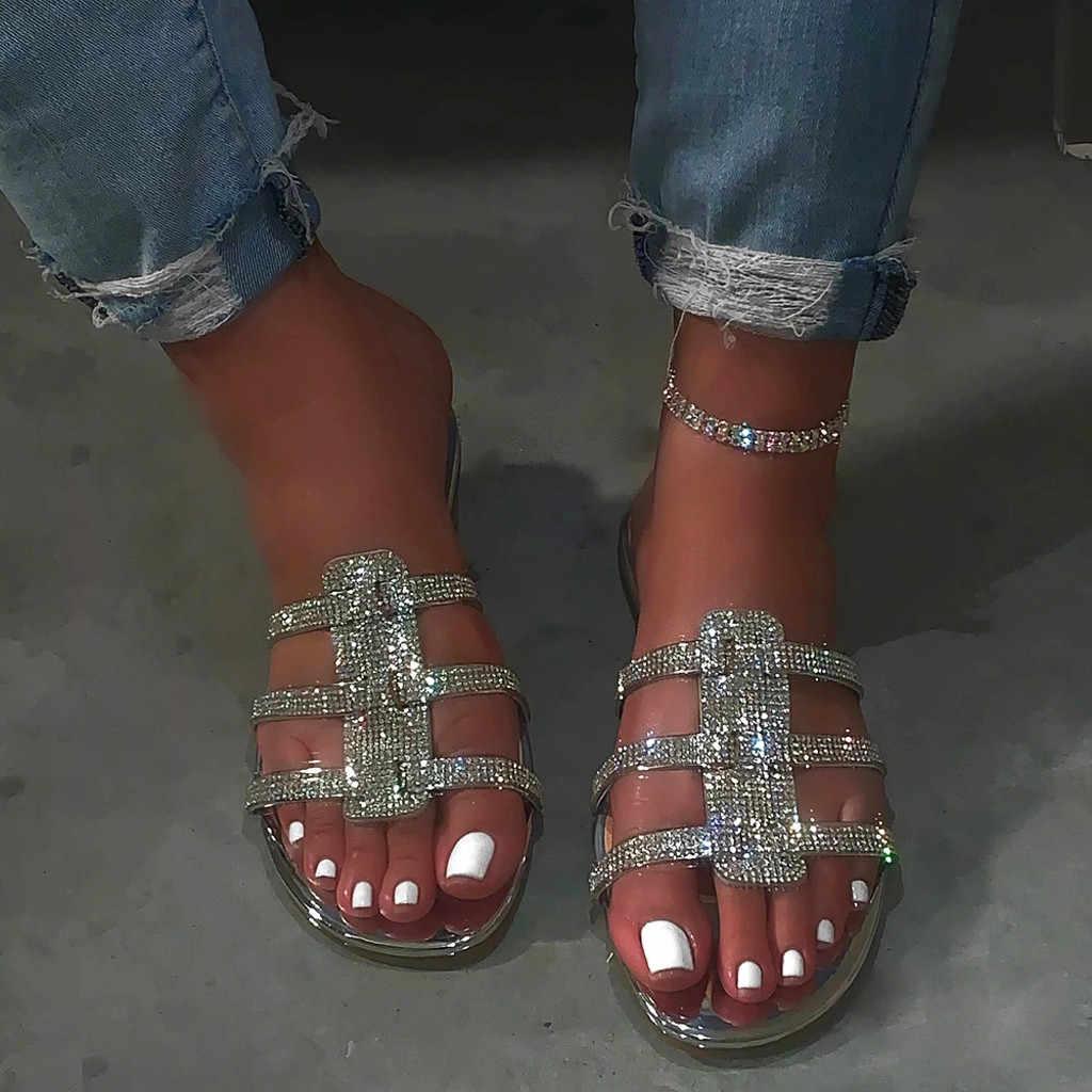 ผู้หญิงรองเท้าแตะคริสตัลโรมันแบน Sequins ฤดูร้อนรองเท้าแตะลำลองรองเท้าผู้หญิงเซ็กซี่สุภาพสตรีรองเท้าแตะสไลด์ feminina