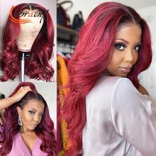 30 Polegada 1b99j hd transparente frente do laço perucas de cabelo humano onda do corpo destaque borgonha laço frontal peruca ombre vermelho preplucked 13x6x1
