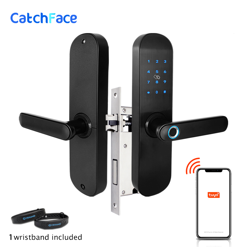 Tuya App Electronic Fingerprint Door Lock  WIFI Smart Touch Screen Lock Digital Code RIFD Card Keypad  For Home Security