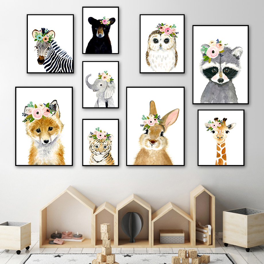 Flower Rabbit Hedgehog Raccoon Zebra Cartoon Wall Art Canvas Painting Nordic Posters And Prints Wall Pictures Kids Room Decor