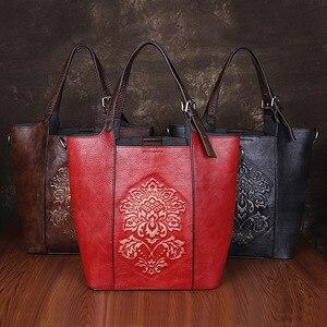 Image 2 - Johnature Retro Luxury Handbags Women Bucket Bag 2020 New Vintage Large Capacity Floral Cowhide Handmade Embossing Shoulder Bags