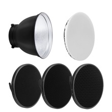 "Selens 7"" 18cm Standard Reflector Dish 20 40 60 Degree Honeycomb Grid Soft Diffuser Lamp Shade for Bowens Strobe Flash Light"