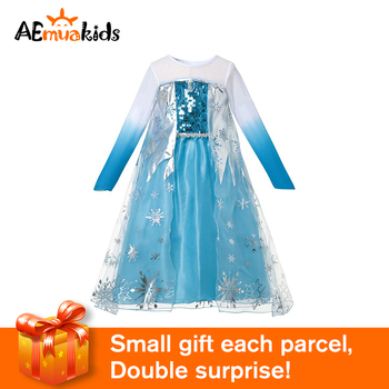 Girls Princess Elsa Dress Up Fantasy Children Blue Sequined Snow Queen Cosplay Costume Kids Elza Halloween Party Clothes froz 2en cosplay costume snow girl elsa dress costume halloween cosplay elsa anna costume princess ice queen outfit full set
