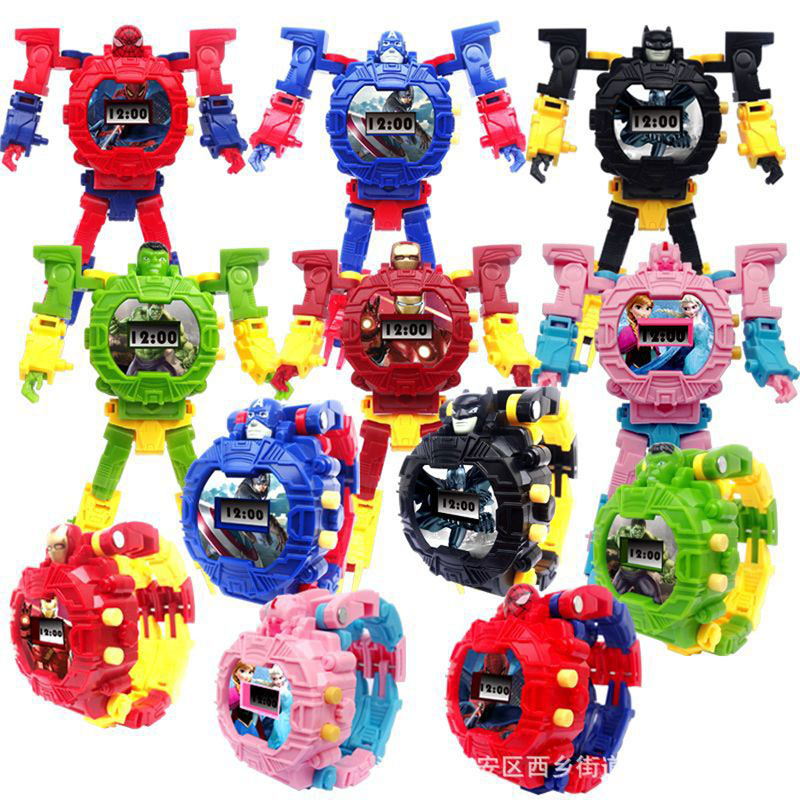 Children Toy Digital Kids Watches Deformation Of The Children Watch Toy Robot The Cartoon
