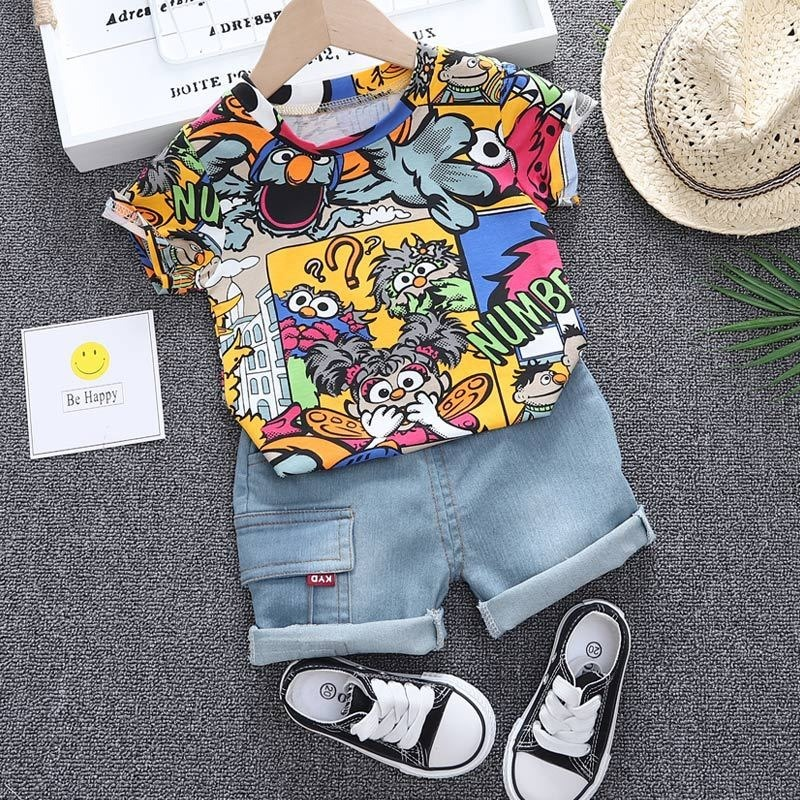 Baby Clothes Graffiti Boys Summer Suit Short-sleeved Top + Denim Shorts Two-piece Set Children Half-sleeved Pants Korean Version