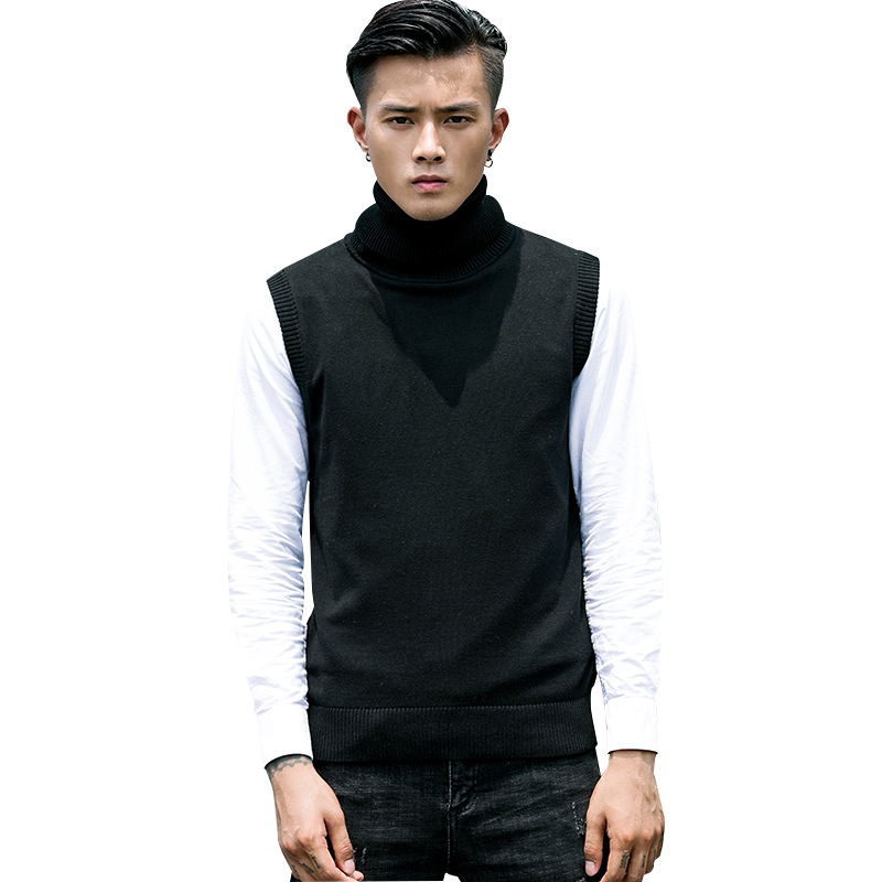 Autumn Mens Sweater Vest 4 Color Turtleneck Hombre Sleeveless Males Knitted Sweaters