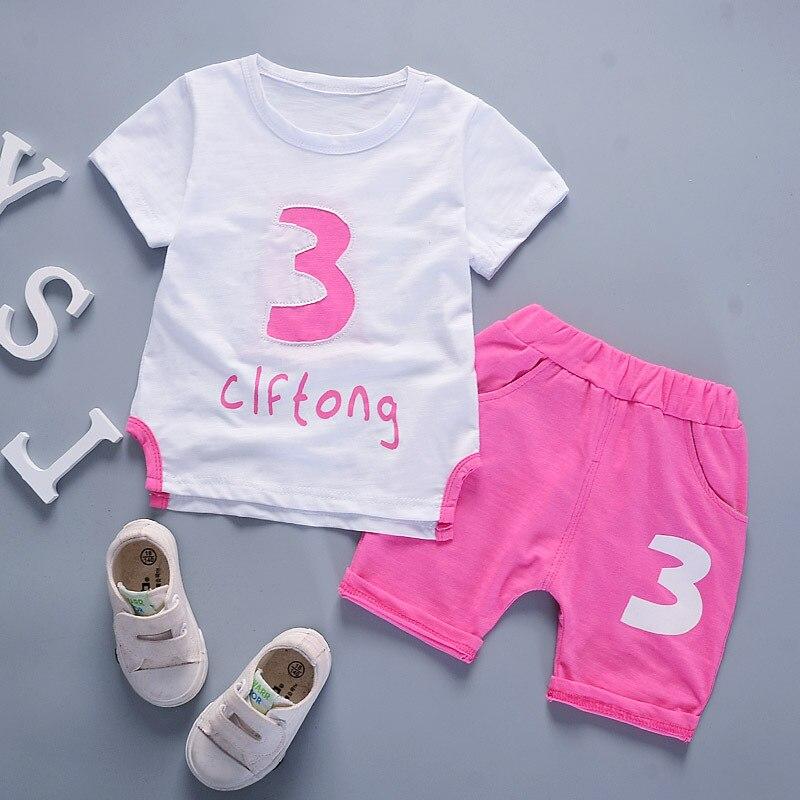 Diimuu quente moda verão meninos meninas conjuntos de roupas crianças manga curta t-shirts conjuntos pullovers algodão da criança casual agasalho