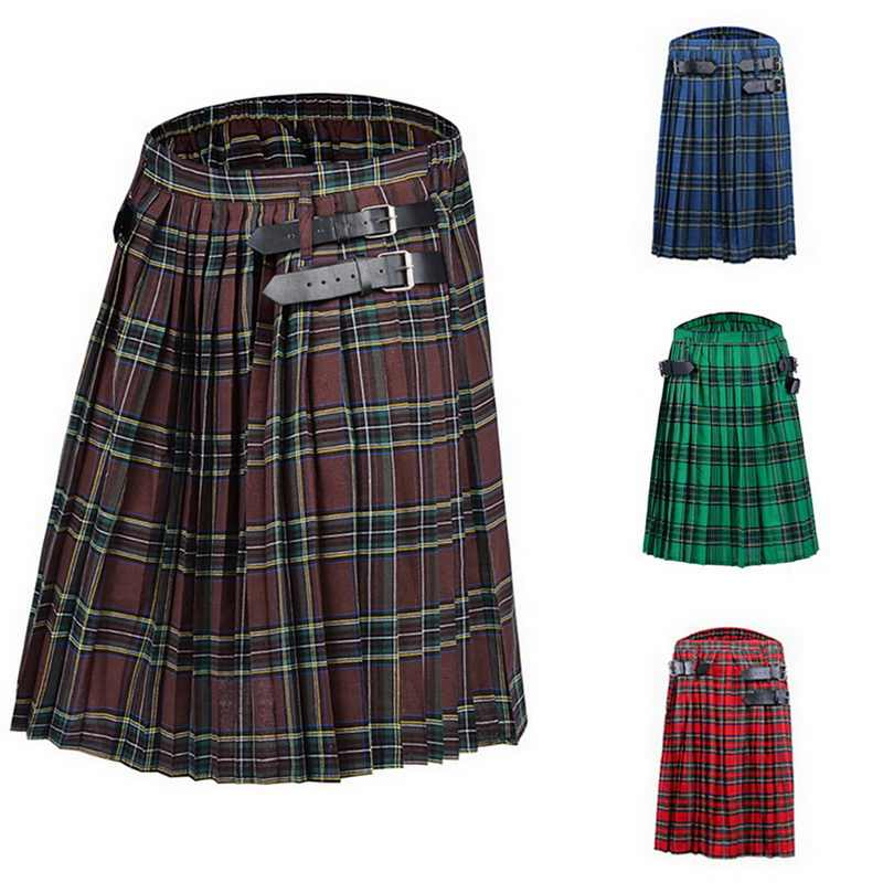 Shujin Heren Kilt Traditionele Plaid Riem Geplooid Bilaterale Chain Brown Gothic Punk Schotse Tartan Broek Rokken