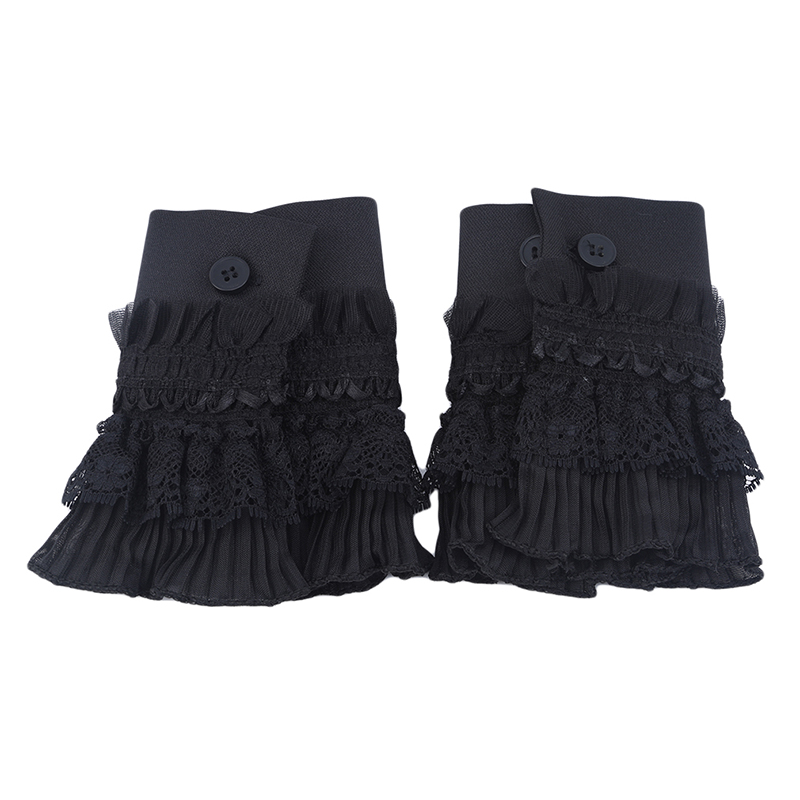 Fashion Style Korean Version Of The Multi-layer Black Lace Pleated Autumn And Winter Women's Knitted Sweater Gloves Fake Sleeves