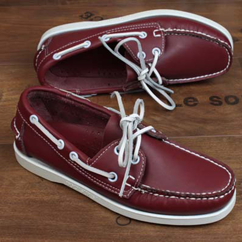 Mens Casual Genuine Leather Docksides Deck Lace Up Moccain Boat Loafers Shoes Driving Fashion Men's Shoes Wine Red