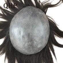 Tupé de piel fina de 0,04-0,06mm para hombre, 8x10 pulgadas, sistemas de repuesto de cabello, peluca artesanal pura, cabello humano Remy Natural 100%