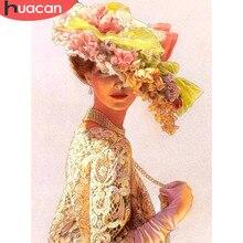 HUACAN elmas boyama portre kadın şapka elmas nakış güzellik elmas boyama çapraz dikiş taklidi mozaik dekorasyon