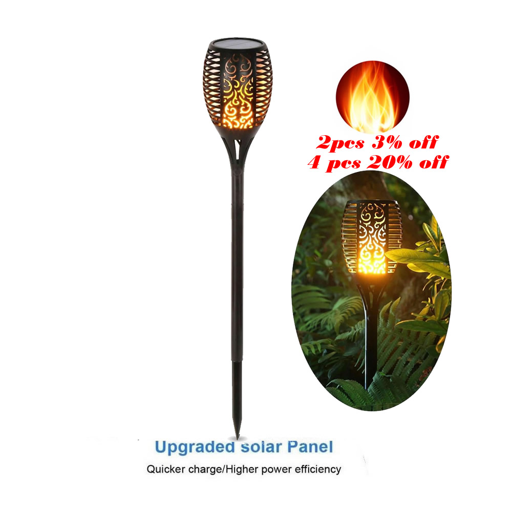 Solar 33 LEDs Lawn Dancing FlameTorch Lights Led Bulb Strips Lamps For Landscape Camps Decor Street Flame Lamp Flickering Bulb D