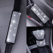Handle-Cover Car-Accessories Diamond-Gearbox Safety-Belt Luxury Crystal Rhinestones