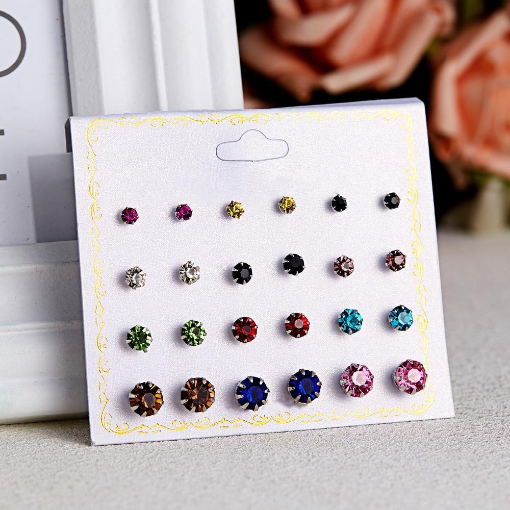 12 Pairs/set Stud Earrings Set With Card Transparent Zircon Balls Love Flowers Earrings Women Imulated Pearl Earrings Jewelry 49