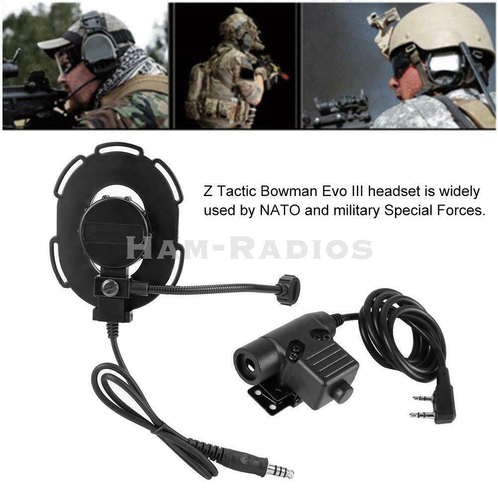 Black Tactical Bowman Walkie Talkie Earpiece Headset  U94 PTT Elite II Z Single