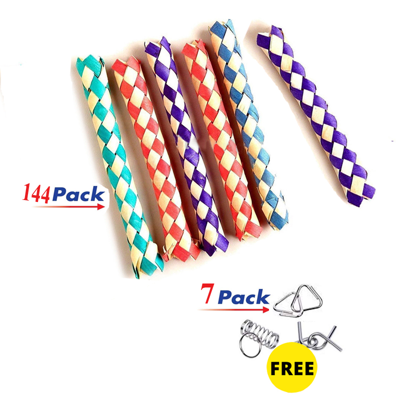 Freeship 144x Chinese Finger Traps Magic Trap For Fingers Trick Joke Toys Kids New Year Party Favors Bag Fillers Gifts Prizes