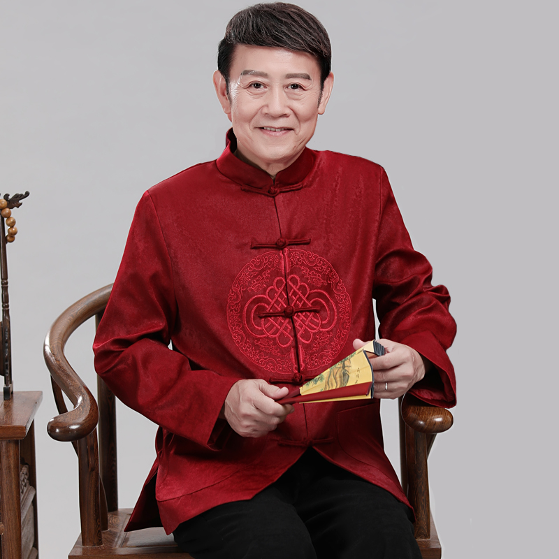 Middle-aged Tang Suit Men's Jacket Men Chinese Style Costume Dress Stand Collar Father Grandfather Wear Spring Autumn