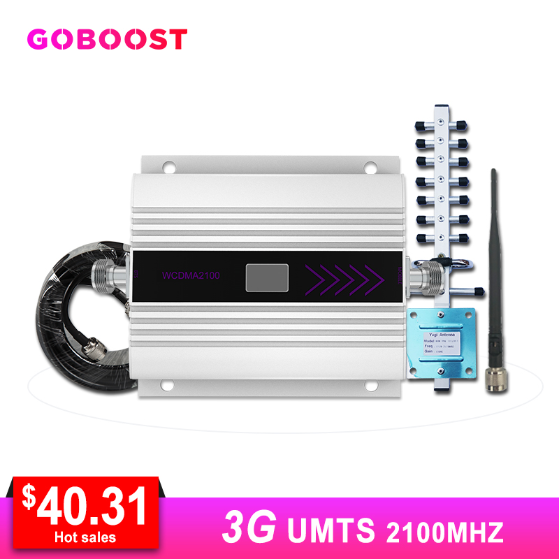 WCDMA 2100MHZ Cellular Signal Amplifier LCD Display Mini Mobile Phone Signal Booster Repeater Yagi+Whip Antenna Coaxial Cable *