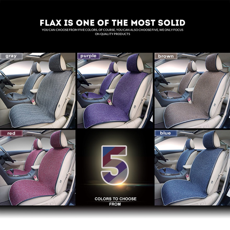 2 Pcs Car Front Seat Flax Fabrics Car Seat Covers Universal Car seat Cushion Accessories Decorate