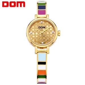 DOM женские часы люксовый бренд кварцевые наручные часы модные повседневные золотые часы из нержавеющей стали Стиль Водонепроницаемый Relogio Feminino