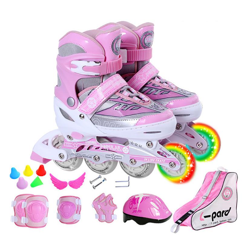 Children Kid PU Mesh Inline Skate Roller Skating Shoes Helmet Knee Protector Gear Adjustable Washable Hard Flash Wheels Teenager