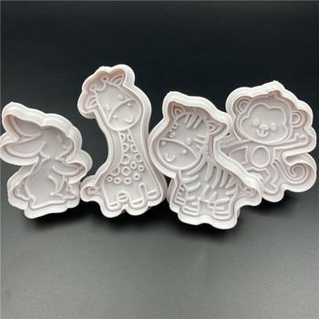 4Pcs/Set Rabbit Monkey Plastic Biscuit Mold DIY Kitchen Cake Decorating Tools Cookie Cutter Stamp Fondant Embosser Die