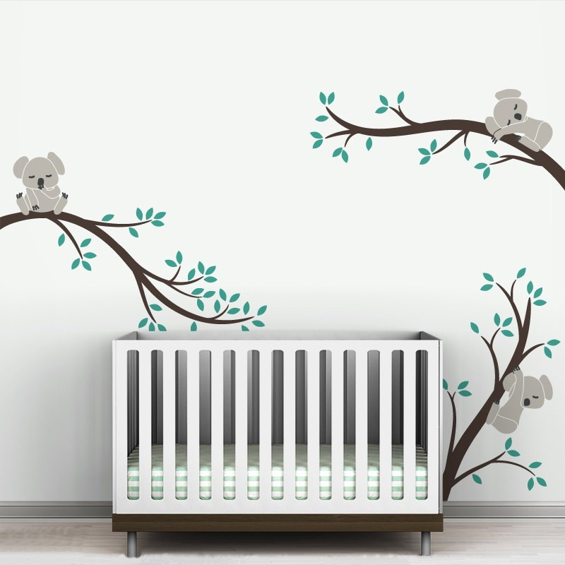 Koala Tree Branches DIY Wall Decals Nursery Vinyls Baby Wall Stickers Wall Art For Kids Room larger size Home Decal in Wall Stickers from Home Garden