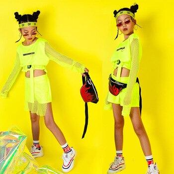 Hip Hop Kids Jazz Dance Costumes Long Sleeve Fluorescence Top Pants Girls Hiphop Clothes Street Dance Stage Show Wear DQS2553