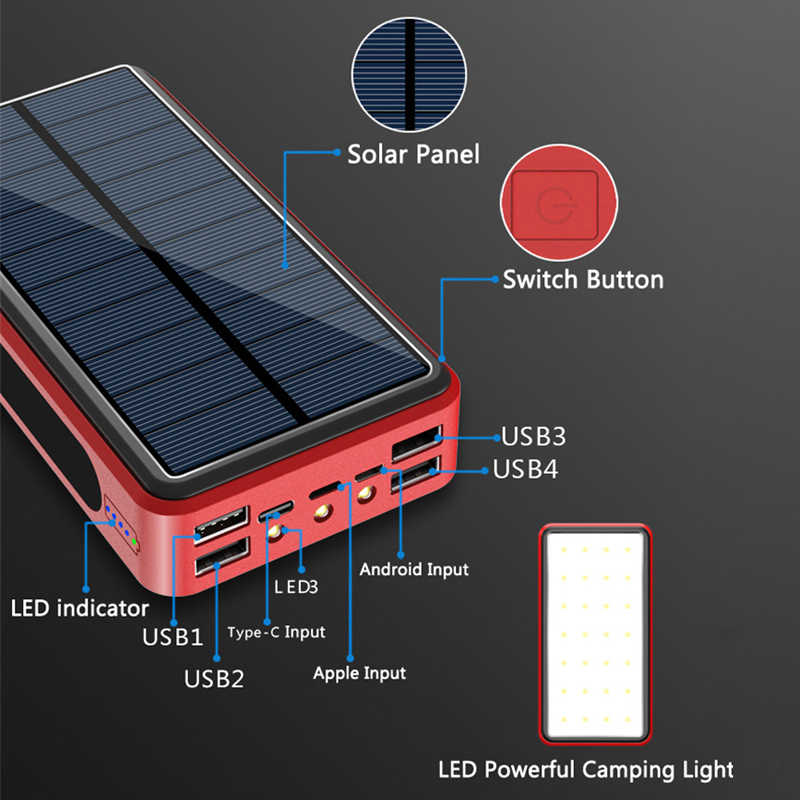 Con potente Camping luz LED 80000mAh banco de energía Solar 4 USB tipo C Poverbank cargador portátil para IPhone 11 X IPad Samsung