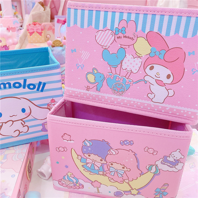 1Pc Kawaii Melody Twins PU Folding Storage Box Foldable Bins Toys Organizer Storage Basket Laundry Basket