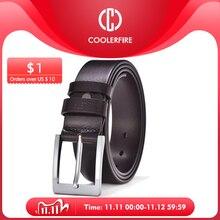COOLERFIRE cinturones para hombres negro y marrón superior, cuero de grano completo hebilla de plata grande cinturón de vestir JTC001