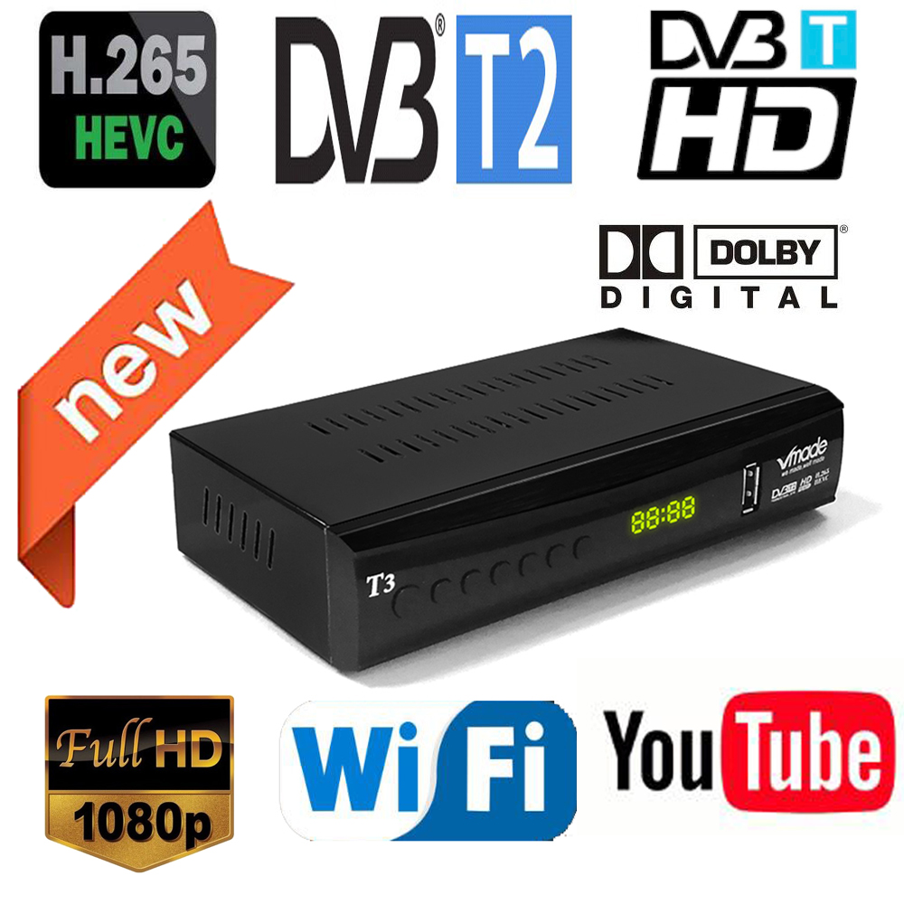 Newest DVB-T2 Digital Receiver Supports H.265/HEVC  DVB-T H265 Hevc Dvb T2 Hot Sale Europe