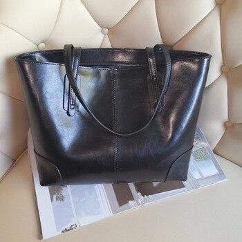Women Cow Genuine Leather Bag Fashion Women Shoulder Genuine Genuine Leather Large Bag Elegant Tote Bag Handbag Large Capacity